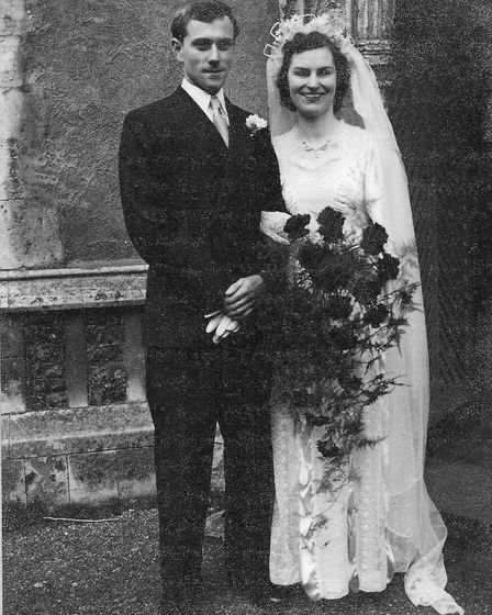 John and Betty French on their wedding day in 1953 at St Mary's church in East Bergholt. Picture: FRENCH FAMILY