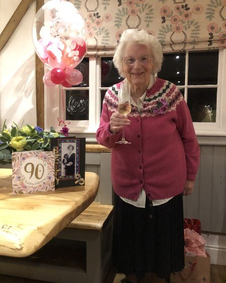 Betty French celebrated her 90th birthday at the Red Lion pub with her family. Picture: FRENCH FAMILY