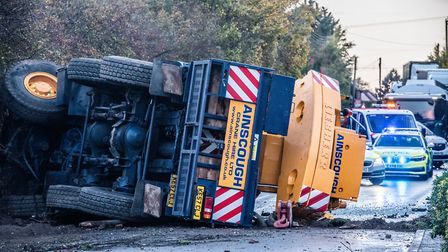 The A140 is currently blocked in both directions after a crane truck overturned in the carriageway in Earl Stonham...