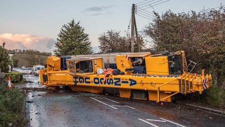 The A140 is currently blocked in both directions after a crane truck overturned in the carriageway in Earl Stonham.