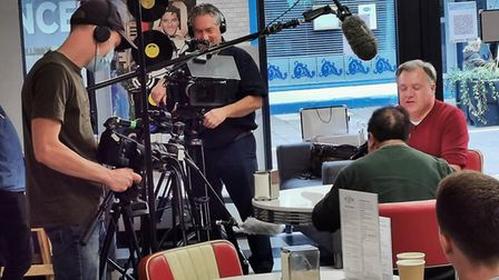 Ed Balls and The One Show filmed at Route 66 in Haverhill for an upcoming show. Picture: ROUTE 66