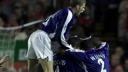 Ipswich Town celebrate Marcus Stewart's winner at Anfield in 2000. Picture: PA