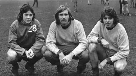 The early days: George Burley in January 1974 with former Town defenders Colin Harper and Bruce Twam