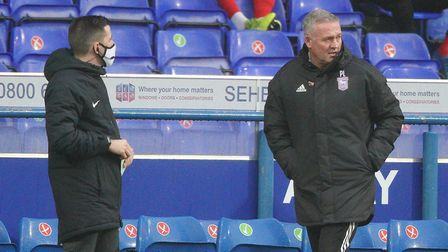 Town manager Paul Lambert, back on the touchline for the game against Crewe Alexandra. Picture: Ste
