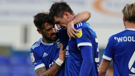 Luke Chambers congratulates Oli Hawkins, after he had scored to put Town 1-0 up. Picture: STEVE WALL