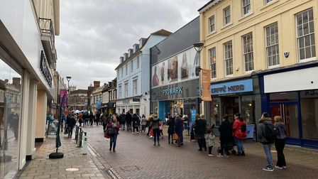Shoppers have been queuing outside Primark this morning. Picture: ARCHANT