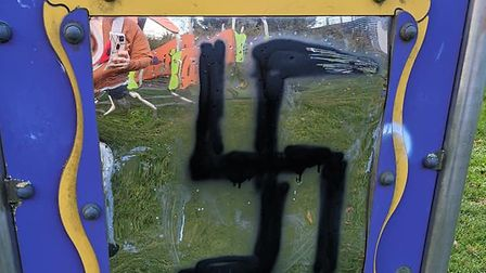 A swastika was sprayed onto a play area in Bury St Edmunds. Picture: HILLARY DAVIS