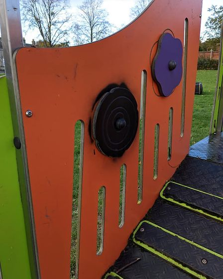 The black spray paint was put onto the play area in Bury St Edmunds. Picture: HILLARY DAVIS