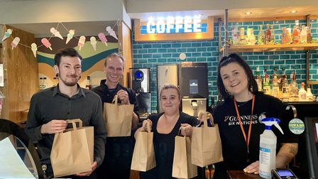 The team at the The Raven in Ipswich also gave out care packages to those self-isolating in March (F