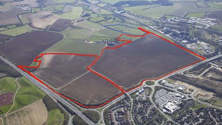 The Gateway 14 business park will be located next to the A14 at junction 50, Stowmarket. Picture: SE