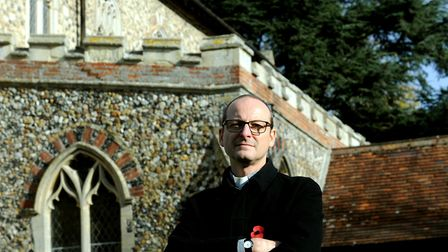 Reverend Peter Goodridge at St John's Church in Elmswell, where lead was stolen from the roof in 2017 Picture: ANDY ABBOTT