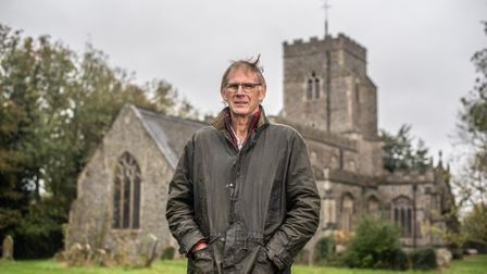 Church warden Keith Davis in front of Preston St Mary Church, where lead was stolen Picture: SARAH LUCY BROWN