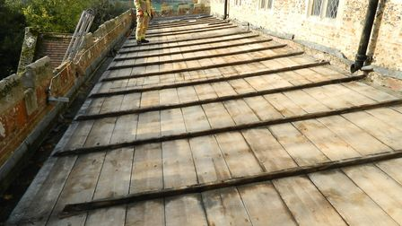 Lead was stripped from the roof of St John's Church in Elmswell in November 2017 Picture: PETER GOODRIDGE