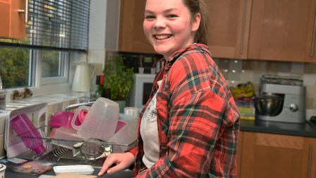 16 year old Nell Anders has been helping to make sandwiches for free school meals in her village Pi