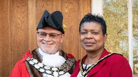 Outgoing Stowmarket Town Mayor Paul Ekpenyong with his consort Annette Ekpenyong. Picture: STOWMARKE