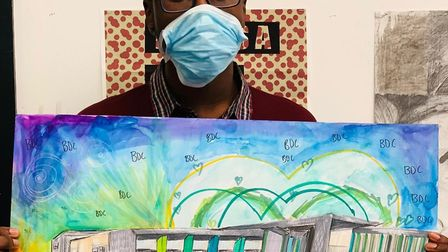 Emmanuel Oreyeni from Barking with his colourful design. Picture: Barking and Dagenham College