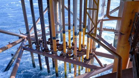 Below a southern North Sea gas platform Picture: CHRYSAOR