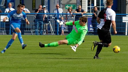 How it all started: Liam Jackson scores his second goal of the game in Leiston's 5-0 win over Halste