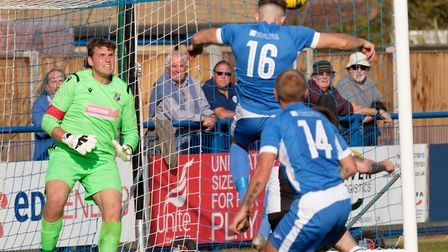Will Davies heads home Leiston's fifth goal in a 5-0 win over Halstead Town in the FA Cup earlier th
