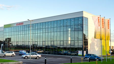 The glass-fronted entrace to CLAAS UK's new headquarters Picture: CLAAS