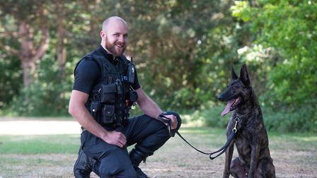 Pc Jon Harvey, pictured here with his Dutch Herder Troy, has been praised by chief constable Steve Jupp after winning a...