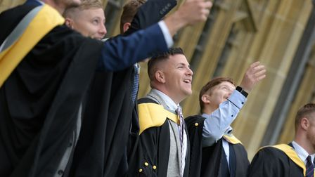 Students from the University of Suffolk at West Suffolk College celebrate their graduation day in 2019. Ceremonies this...