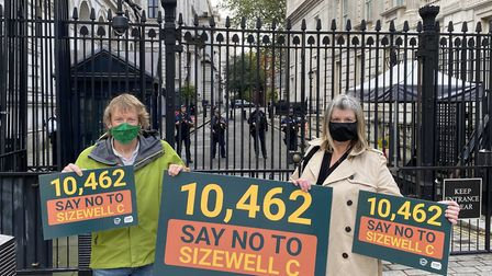 Campaigners present a petition against Sizewell C at Downing Street Picture: STOP SIZEWELL C/TASC