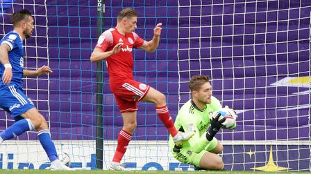 Ipswich keeper Tomas Holy makes a save against Accrington - he and James Wilson have been named in t