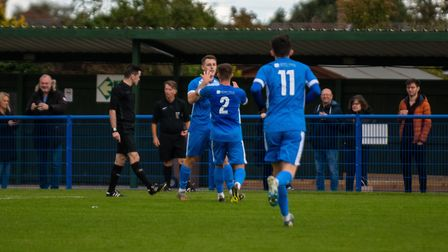 Jamie Eaton-Collins celebrates scoring Leiston's only goal with Dylan Switters (2) during Saturday's