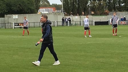 Leiston joint manager Darren Eadie, the former Norwich City winger, pictured at Coalville Town from