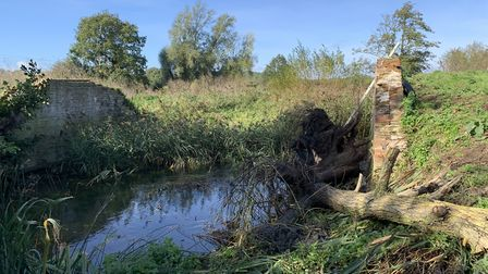 The abutments at the Baylham footbridge are waiting for the deck to be replaced. Picture: RIVER GIPPING TRUST