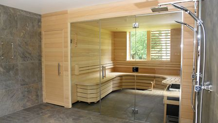 Inside Kesgrave Hall's sauna, which features a forest view Picture: CHARLOTTE BOND