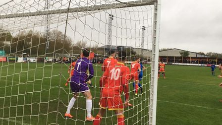 Benhind the net: Banbury United were rocked by an opening goal from Ollie Hughes in the first half.