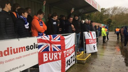 Bury Town fans behind the goal that their side were attacking in the first half. They had a bird's e