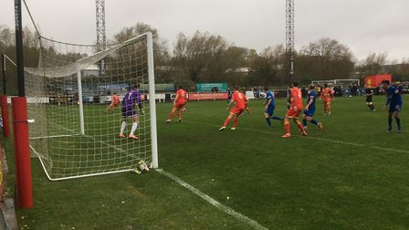 Bury Town on the attack during this afternoon's FA Cup tie at Banbury United