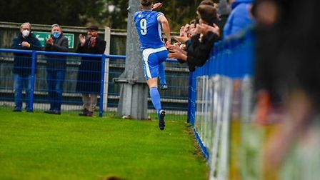 Will Davies celebrates his first-half goal for Leiston, at home to Barnet in a pulsating FA Cup tie