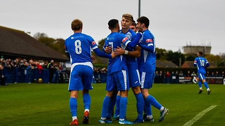 Leiston players celebrate a first-half goal during their FA Cup tie against Barnet. Picture: HANNAH