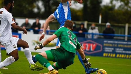 Action from this afternoon's cracking FA Cup tie between Leiston and Barnet at Victory Road. Picture