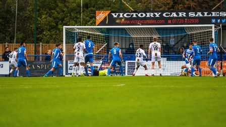 Barnet score the winning goal through Michael Petrasso in a 3-2 FA Cup success at Leiston. Picture: