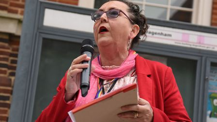 Cllr Rice speaking at a flag raising to mark the International Day Against Homophobia, Biphobia, Int