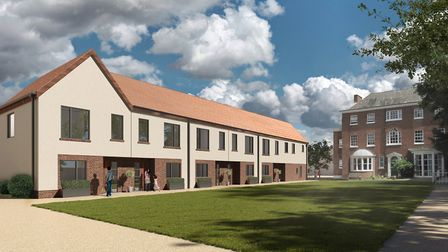 A CGI rendering of the homes planned on the former MId Suffolk District Council offices in Needham M