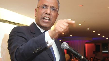 Angry Lutfur Rahman at Mile End rally after High Court bans him from office in 2015. Picture: Mike B