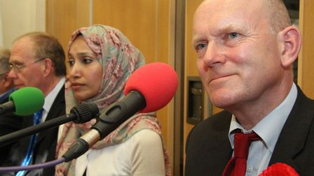 2015 hustings for elected mayor... John Biggs beats Rabina Khan into second place. Picture: Mike Bro