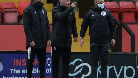 Paul Lambert on the touchline at Lincoln. The Ipswich Town boss has been banned from the sideline an
