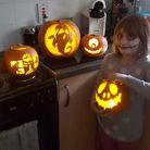 Scarlett and her pumpkins all ready for Halloween. Picture: Mikaleigh Barras