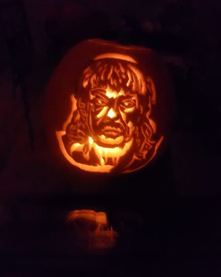 Ami carved Joe Exotic into a pumpkin for Halloween. Picture: AMI C DOLAN