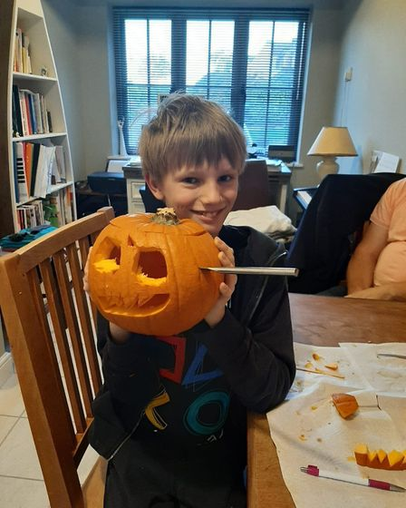 Seth and his pumpkins. Picture: LEE PARNELL