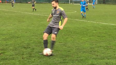 Ipswich Wanderers left-back Lewis Kincaid on the ball at CBS Norwich in the FA Vase. Picture: CARL M