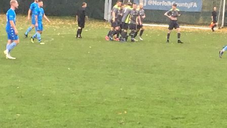 Ipswich Wanderers celebrate going 2-0 up at Norwich CBS. Picture: CARL MARSTON