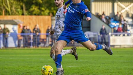 Jake Chambers-Shaw goes close to scoring for Bury Town during their 2-2 draw against Romford. Pictur